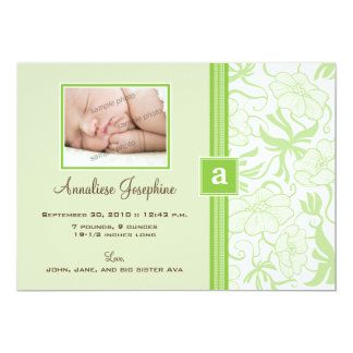"{TBA} Monogram Ribbon Baby Announcement (lime) 5"" X 7"" Invitation Card"