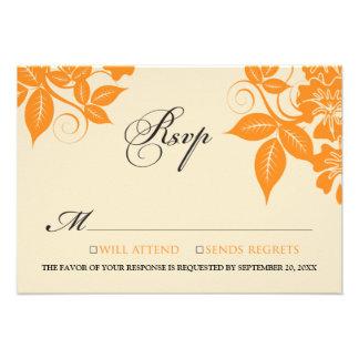 {TBA} Orange/Black Modern Floral RSVP Card Custom Announcement