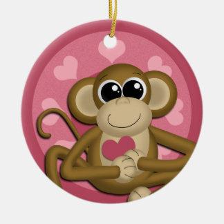 {TBA} Ornamento de cerámica del rosa del mono del Ornamentos De Reyes