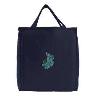 {TBA} Peacock Embroidered reusable Canvas tote bag
