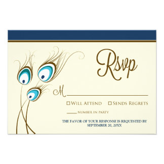 {TBA} Peacock Feathers RSVP Card (navy) Announcements