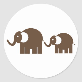 {TBA} Pegatinas de los elefantes de Brown Etiquetas Redondas