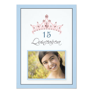 {TBA} Pink Jeweled Tiara Quinceañera Invitation