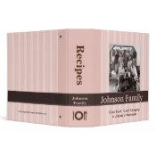 Pink Stripe Family Photo Recipe Binder binder