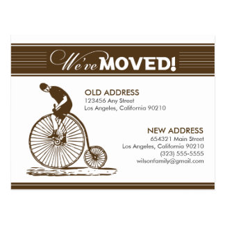 {TBA} POSTCARD: We've Moved! Antique Bicycle Postcard