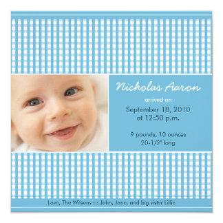"""{TBA} Precious Gingham (blue) Birth Announcement 5.25"""" Square Invitation Card"""