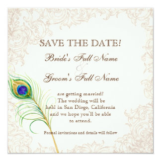 (TBA) Save the Date - Vintage Peacock & Etchings Card