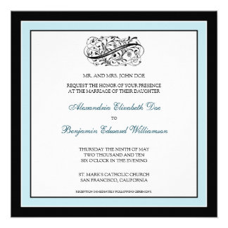 {TBA} Simply Elegant Wedding Invite (black/blue)