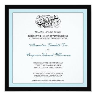 "{TBA} Simply Elegant Wedding Invite (black/blue) 5.25"" Square Invitation Card"