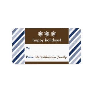 {TBA} Snowflake Ribbon Holiday Gift Tag (navy) Address Label
