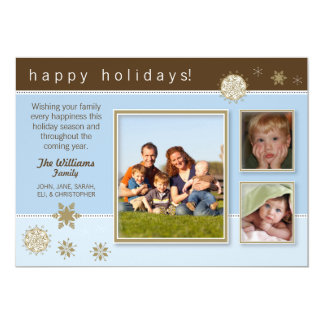 {TBA} Snowflakes Family Holiday Card (brown/blue)