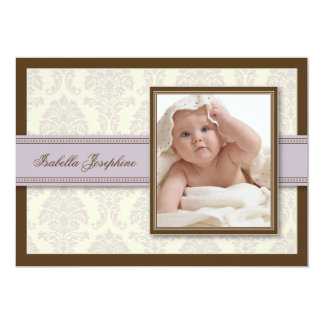 "{TBA} Sweet Damask Chocolate Birth Announcement 5"" X 7"" Invitation Card"