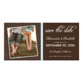 {TBA} Swirly-Q Brown/Baby Blue Save the Date Card