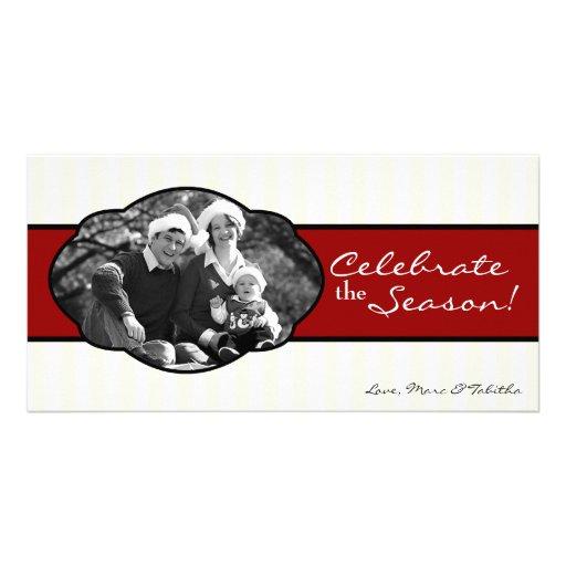 {TBA} tarjeta de Navidad rayada roja de la FOTO Tarjetas Personales Con Fotos