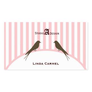 (TBA) (Top10 )Pink Stripe Birds Business Card