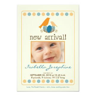 "{TBA} Tweet Tweet 5x7"" Birth Announcement (orange) 5"" X 7"" Invitation Card"