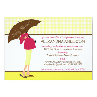 "{TBA} Umbrella Mommy Baby Shower Invite (yellow) 5"" X 7"" Invitation Card"