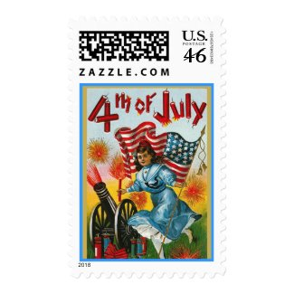 TBA ~ Vintage 4th of July Girl with Cannon Postage stamp