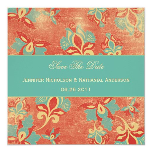 "TBA - Vintage Aqua and Tangerine Save The Date 5.25"" Square Invitation Card"