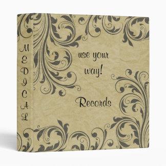 TBA Vintage Black Scroll Paper Print Avery Binder