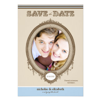{TBA} Vintage Oval Frame Save-the-Date (baby blue) Announcements