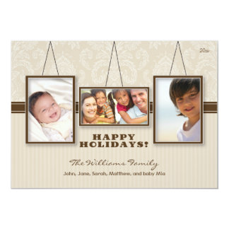 {TBA} Wall Frames Custom Family Holiday Card (tan)