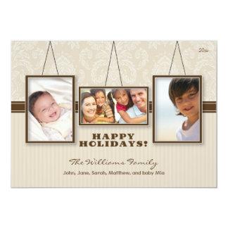 "{TBA} Wall Frames Custom Family Holiday Card (tan) 5"" X 7"" Invitation Card"