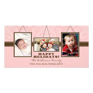 {TBA} Wall Frames Family Holiday Photocard (pink) Personalized Photo Card