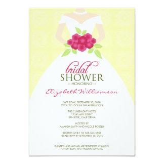 {TBA} Wedding Dress Bridal Shower Invite (yellow)