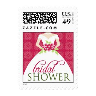 {TBA} Wedding Gown Bridal Shower Stamp (pink)