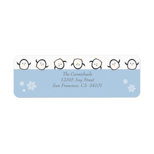{TBA} Whimsical Penguins Address Labels (blue)