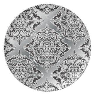 <TBA Winner>Debonair Damask Black, White, Silver Dinner Plates