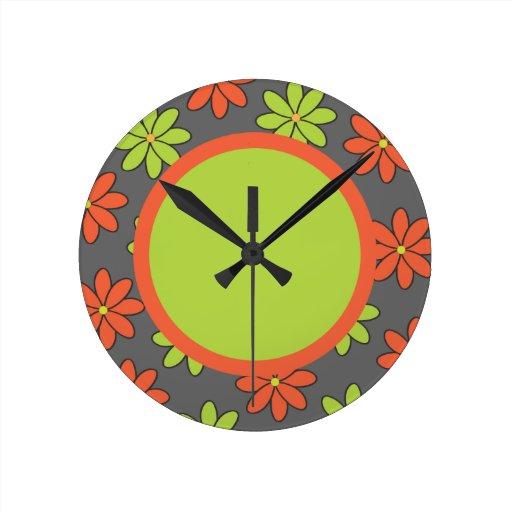 <TBA WINNER>Girly Orange and Lime Flowers Clock