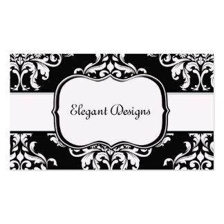 <TBA Winner > Jet Black & White Diamond Damask Business Card