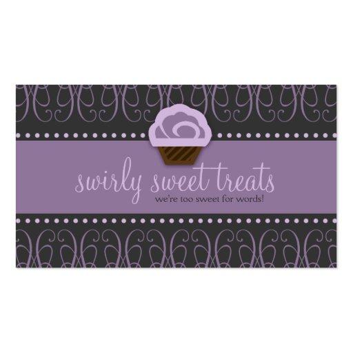 TBA WINNER-SWIRLY SWEET Purple Business Card Templates