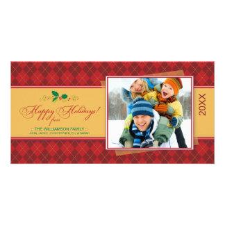 {TBA} Winter Argyle Happy Holidays Photocard (red) Card