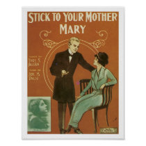 TBA Your Mother Mary Vintage Music Sheet Cover Poster