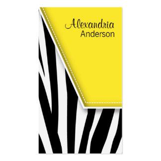 {TBA} Zany Hip Zebra Print Business Cards (yellow)