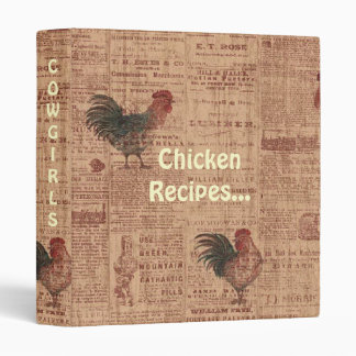 TBAward French Country Roosters Recipes CookBook Binder