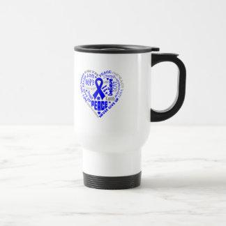 TBI Awareness Heart Words (Blue) Coffee Mugs