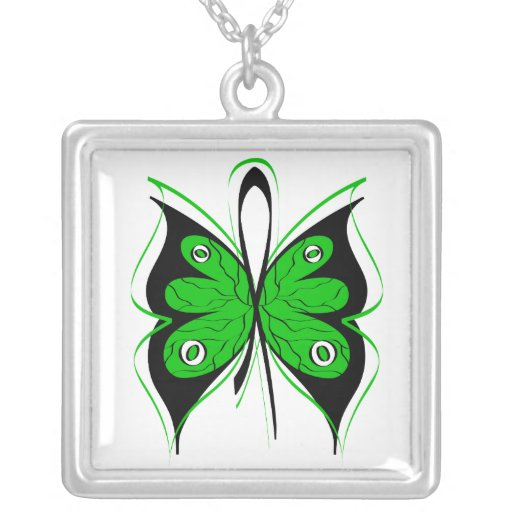 TBI Awareness Stylish Butterfly  Ribbon Square Pendant Necklace