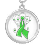 TBI Ribbon Angel In Memory Round Pendant Necklace