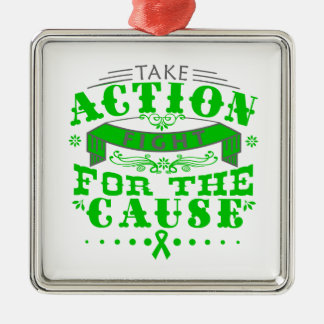 TBI Take Action Fight For The Cause v2 Square Metal Christmas Ornament