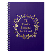 TBI Terrific Beautiful Individual Gold on Navy Notebook