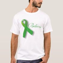 TBI Traumatic Brain Injury Believe Green Ribbon T-Shirt