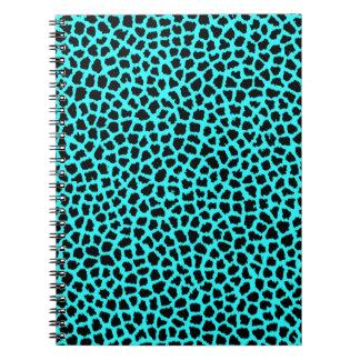 tBlue del neón del estampado leopardo Libros De Apuntes Con Espiral