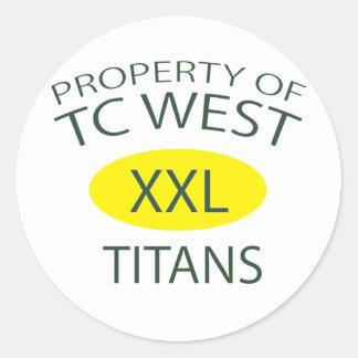 TC West XXL Classic Round Sticker