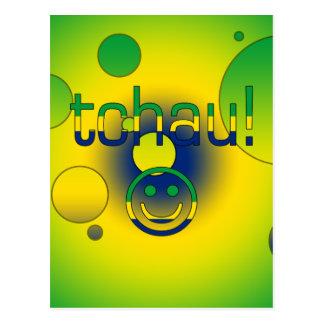 Tchau! Brazil Flag Colors Pop Art Postcard