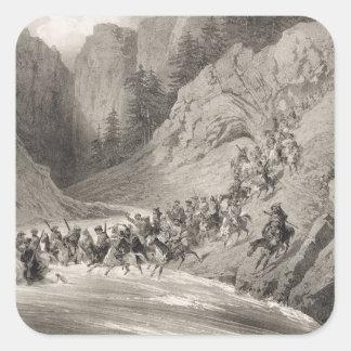 Tcherkersseians on a Raid near the Black Sea, plat Square Sticker