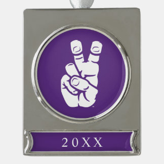 TCU Horned Frogs Hand Symbol Silver Plated Banner Ornament